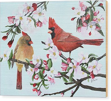 Cardinals And Apple Blossoms Wood Print by Johanna Lerwick
