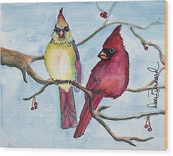 Cardinals Wood Print by Dale Bernard