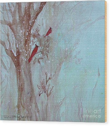 Wood Print featuring the painting Cardinals In Trees Whilst Snowing by Robin Maria Pedrero