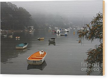 Careel Bay Mist Wood Print by Sheila Smart Fine Art Photography
