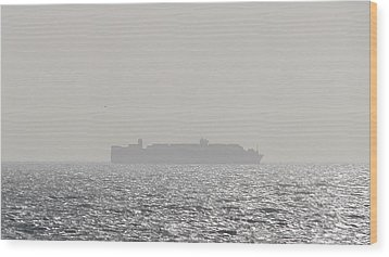 Wood Print featuring the photograph Cargo Au Large by Marc Philippe Joly