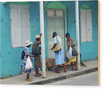 Wood Print featuring the photograph Caribbean Blue, Speightstown, Barbados by Kurt Van Wagner
