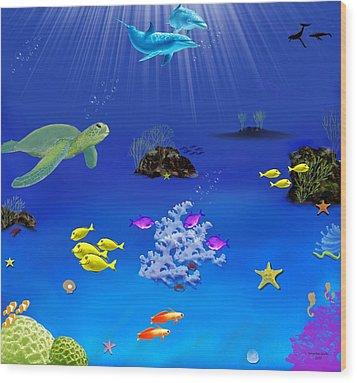 Caribbean Blue Wood Print by Tanya Van Gorder