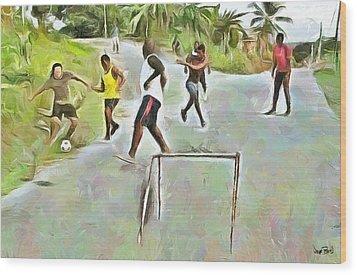 Caribbean Scenes - Small Goal In De Street Wood Print