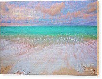 Caribbean Sea At High Tide Wood Print by Charline Xia