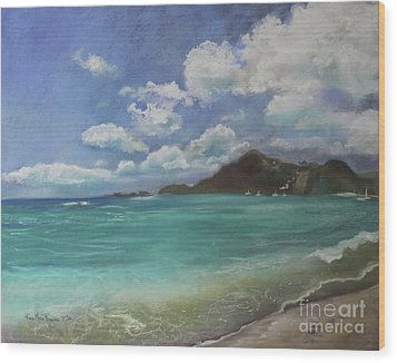 Wood Print featuring the pastel Caribbean Sea Day Antigua by Robin Maria Pedrero