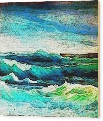 Caribbean Waves Wood Print by Holly Martinson