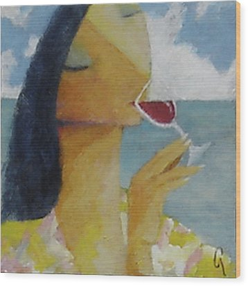 Wood Print featuring the painting Caribbean Wine Tasting by Glenn Quist