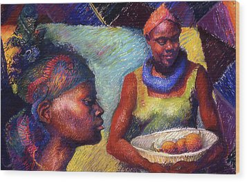 Caribbean Women With Oranges Wood Print