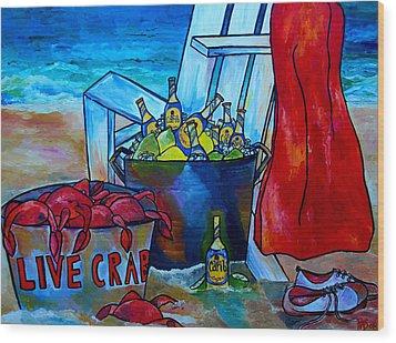 Caribe And Crab Wood Print by Patti Schermerhorn