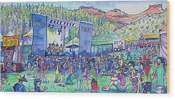 Wood Print featuring the painting Caribou Mountain Collective At Yarmonygrass by David Sockrider