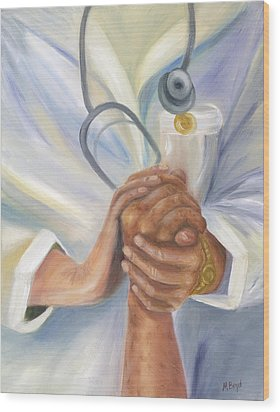 Wood Print featuring the painting Caring A Tradition Of Nursing by Marlyn Boyd