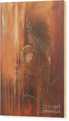 Caring Wood Print by Miroslaw  Chelchowski