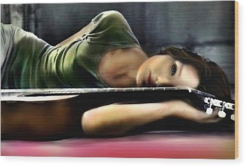 Carla Bruni With Guitar Wood Print by Monica Magallon