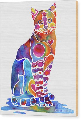Carley Cat Wood Print by Jo Lynch