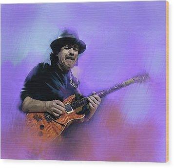 Carlos Santana Pura Vida Wood Print by Iconic Images Art Gallery David Pucciarelli