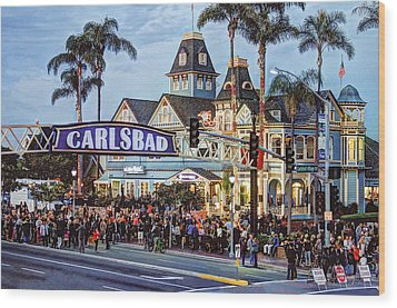 Carlsbad Village Sign Wood Print by Ann Patterson