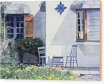 Carmel Cottage With Orange Wood Print by David Lloyd Glover