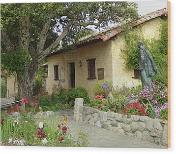 Carmel Mission Grounds Wood Print by Gordon Beck
