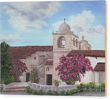 Carmel Mission In Spring Wood Print by Laura Iverson