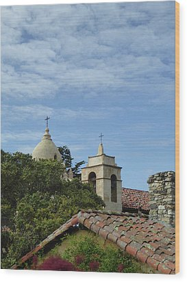 Carmel Mission Rooftops Wood Print by Gordon Beck