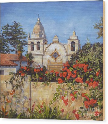 Carmel Mission Wood Print by Shelley Cost