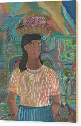 Wood Print featuring the painting Carmelita by John Keaton