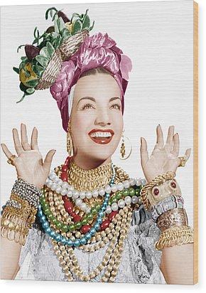Carmen Miranda, Ca. Late 1940s Wood Print by Everett