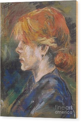 Wood Print featuring the painting Carmen Of Lautrec by Debora Cardaci