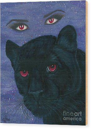 Wood Print featuring the painting Carmilla - Black Panther Vampire by Carrie Hawks