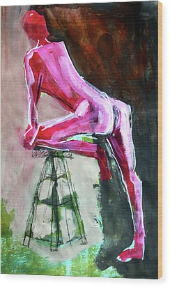 Wood Print featuring the painting Carmine Figure No. 3 by Nancy Merkle