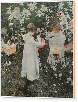 Carnation Lily Lily Rose Wood Print by John Singer Sargent