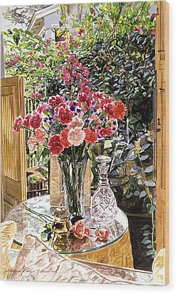 Carnations In The Window Wood Print by David Lloyd Glover