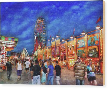 Carnival - The Carnival At Night Wood Print by Mike Savad