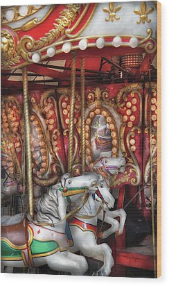 Carnival - The Carousel Wood Print by Mike Savad