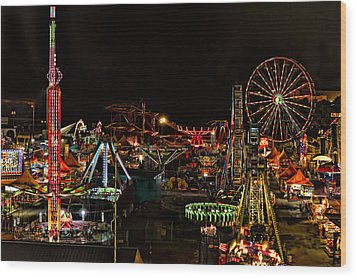 Wood Print featuring the photograph Carnival Midway by Linda Constant
