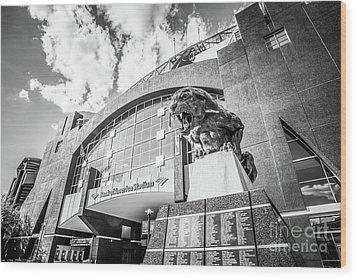 Carolina Panthers Stadium Black And White Photo Wood Print by Paul Velgos