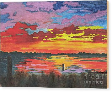 Wood Print featuring the painting Carolina Sunset by Patricia Griffin Brett