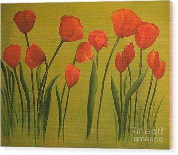 Carolina Tulips Wood Print by Carol Sweetwood