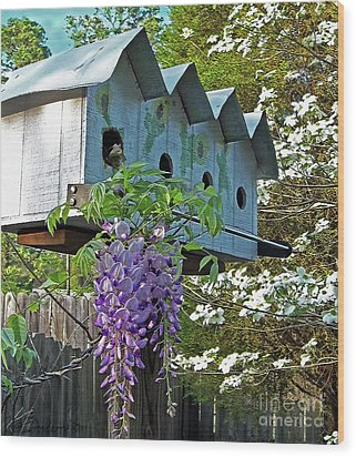 Carolina Wisteria Bird Hotel Wood Print by Patricia L Davidson