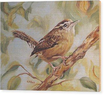 Carolina Wren II Wood Print by Cheryl Pass