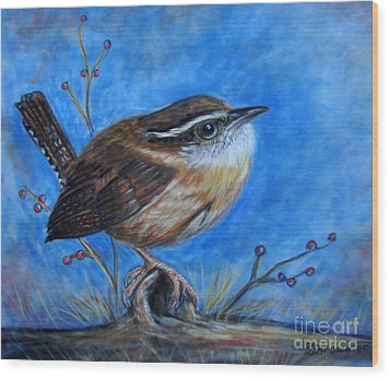Carolina Wren Wood Print by Patricia L Davidson