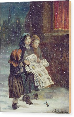 Carols For Sale  Wood Print by Augustus Edward Mulready