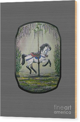Carousel Garden The White Buckskin Stallion Wood Print