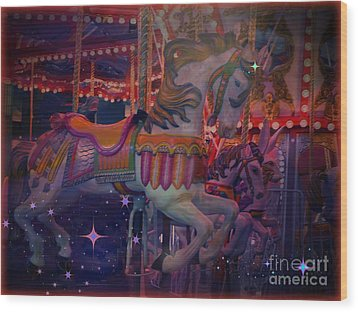 Carousel Horse Wood Print by Annie Gibbons