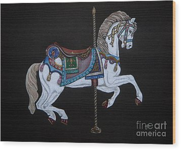 Carousel Horse Wood Print by Yvonne Johnstone