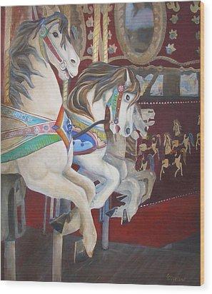 Carousel Horses Wood Print by Linda Cleveland