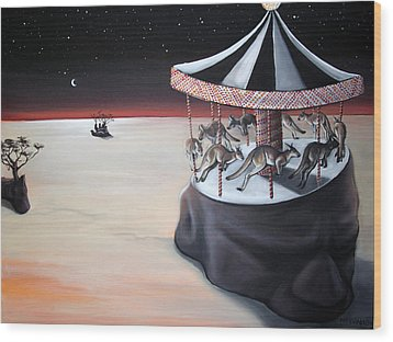 Carousel In The Head Wood Print by Charlotte Oedekoven