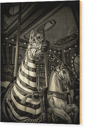Wood Print featuring the photograph Carousel Zebra by Caitlyn Grasso