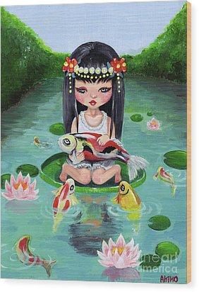 Carp And Girl Wood Print by Akiko Okabe